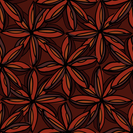 star anise: Seamless pattern of star anise, hand-draw style. Vector illustration