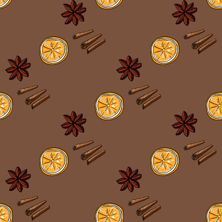 star anise: Seamless pattern of orange, star anise and cinnamon, hand-draw style. Vector illustration