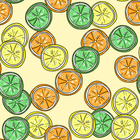 handdraw: Lemon, lime and orange vector hand-draw seamless pattern.  Vector illustration