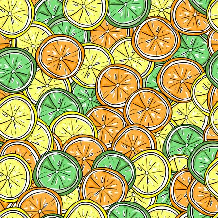 lemon lime: Lemon, lime and orange vector hand-draw seamless pattern.  Vector illustration