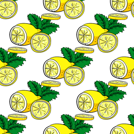 handdraw: Lemon and mint vector hand-draw seamless pattern.  Vector illustration Illustration