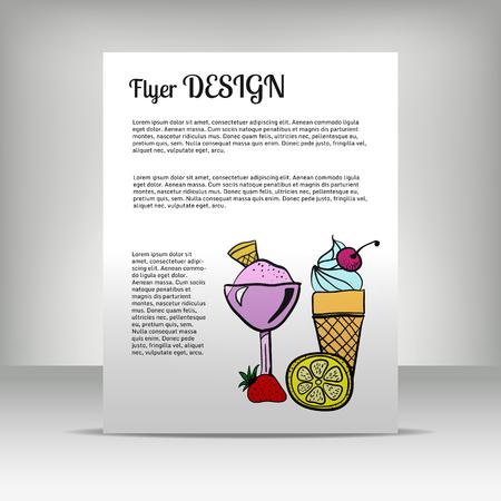 resfriado comun: Folleto con el texto y el conjunto de dibujado a mano de elementos de colores, los medicamentos, la medicina tradicional, el tratamiento del resfriado com�n. Ilustraci�n vectorial