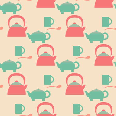teaspoon: Seamless pattern of utensil - teapot, cup and spoon.