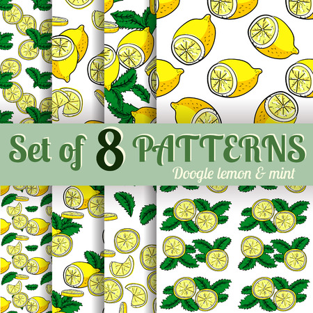 handdraw: Set of 8 lemons and mints vector hand-draw seamless patterns.  Vector illustration