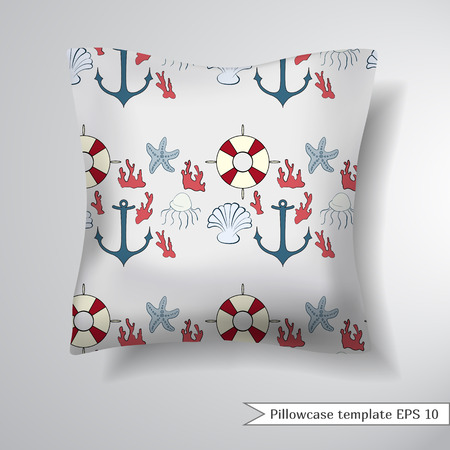 Pillowcase Design Vector: Creative Sofa Square Pillow  Decorative Pillowcase Design Template    ,
