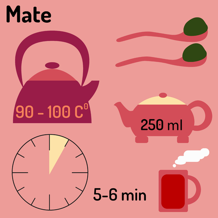 mate: Mate. Tea infographic. How to make tea. Vector illustration