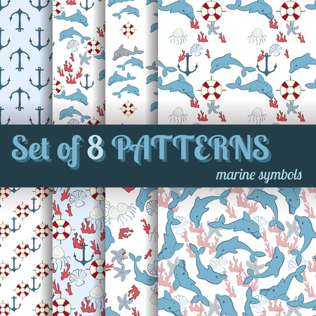 pink dolphin: Set of 8 seamless patterns with marine symbols on a light background Illustration