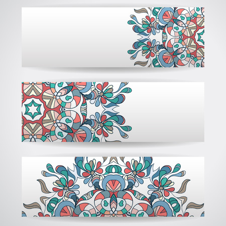 headers: Three templates of horizontal banners . Mandala pattern