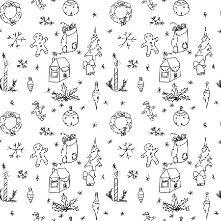 child drawing: Set of symbols of Christmas and winter, seamless pattern on a light background. Stylized drawing of a child.