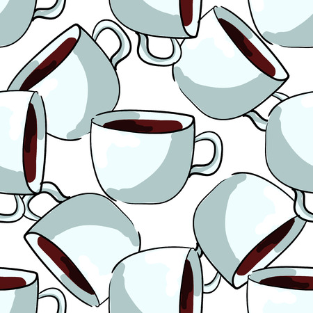 handdraw: Seamless pattern of cups, tea or coffee, hand-draw style. Vector illustration Illustration