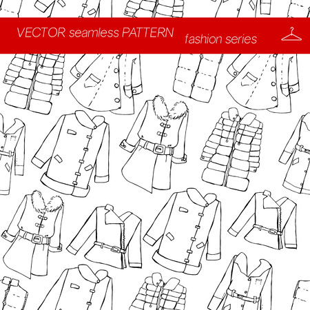 she: Seamless pattern. Fashion. Various jackets and overcoats. Illustration in hand drawing style. Illustration