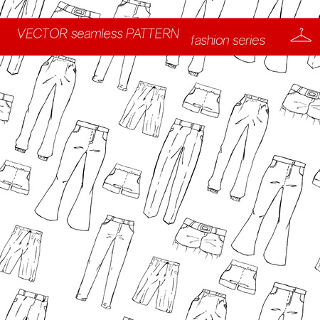 elastic band: Seamless pattern. Fashion set. different pants, trousers. Illustration in hand drawing style.