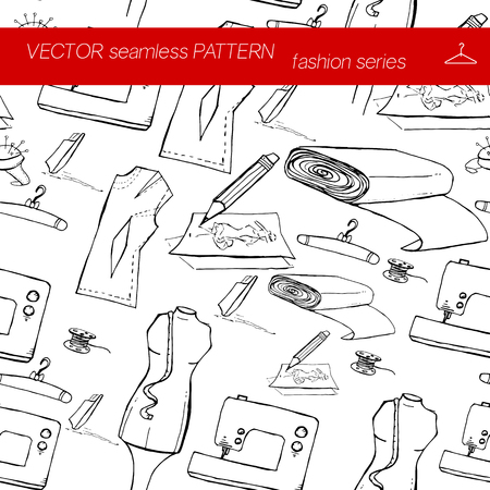 coat rack: Seamless pattern. Fashion set. Various tools for sewing. illustration in hand drawing style. Illustration