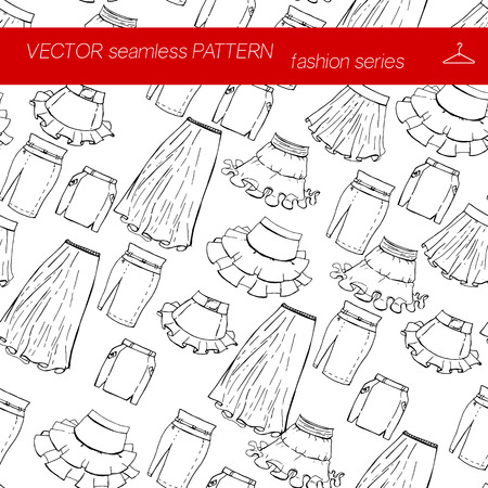 skirts: Fashion set. Seamless pattern. Various skirts. Illustration in hand drawing style. Illustration