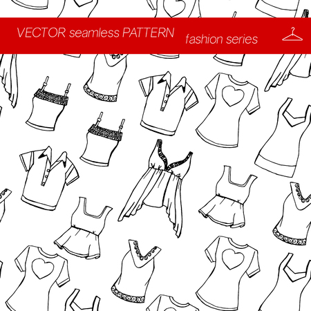 frill: Seamless pattern. Fashion set. Various T-shirts. illustration in hand drawing style.