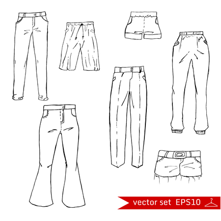 elastic band: Fashion set. different pants, trousers. Illustration in hand drawing style.