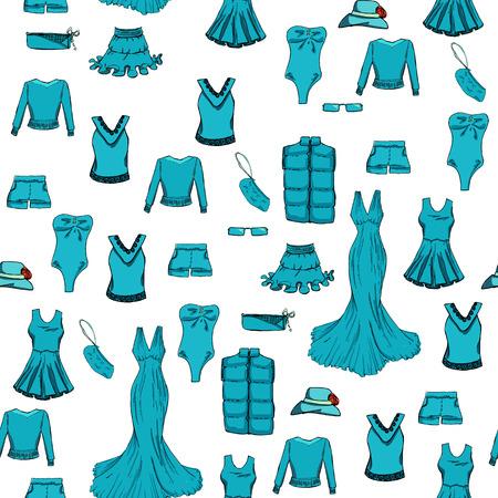 Seamless. Mode mis en couleur bleue. Différents vêtements. illustration dans le style de dessin à la main.