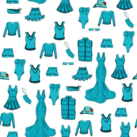 skirt: Seamless pattern.  Fashion set in blue color. Different clothes.  illustration in hand drawing style.