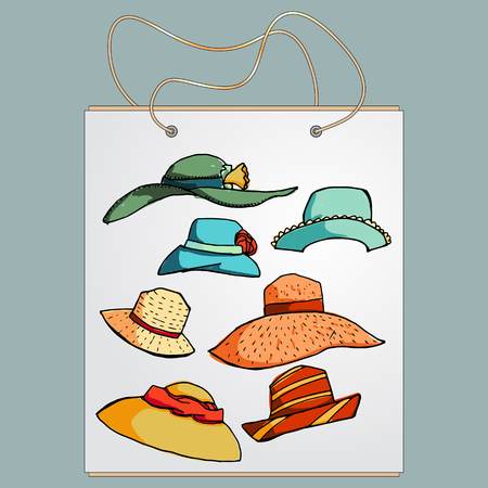 gift bag: Shopping bag, gift bag with the image of fashionable things.Fashion set of summer hats. Illustration in hand drawing style. Illustration