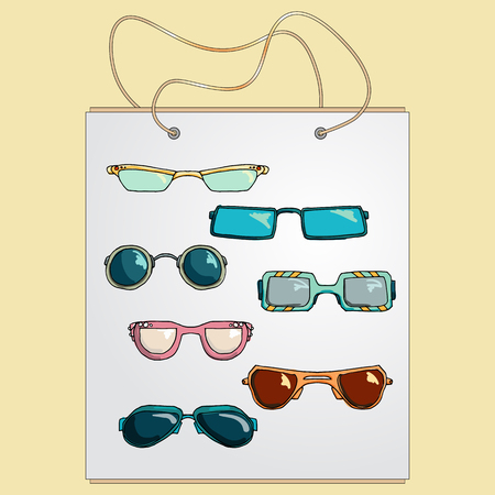 glases: Shopping bag, gift bag with the image of fashionable things. Fashion set of glases and sunglasses. Illustration in hand drawing style.