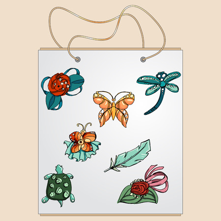 bobby pin: Shopping bag, gift bag with the image of fashionable things.Fashion set brooches.  Illustration in hand drawing style. Illustration