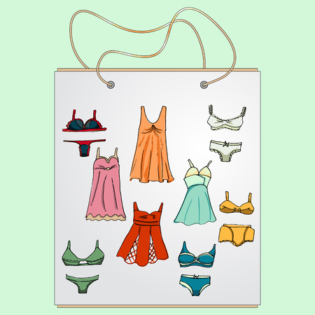 Shopping bag, gift bag with the image of fashionable things.Fashion underwear set. Illustration in hand drawing style.