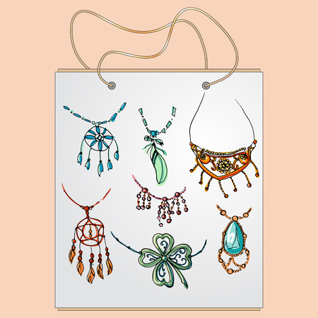 gift bag: Shopping bag, gift bag with the image of fashionable things. Fashion pendants and necklaces set.  Illustration in hand drawing style.
