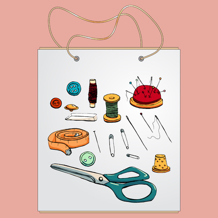 gift bag: Shopping bag, gift bag with the image of fashionable things.Fashion set. Various tools for sewing. illustration in hand drawing style.