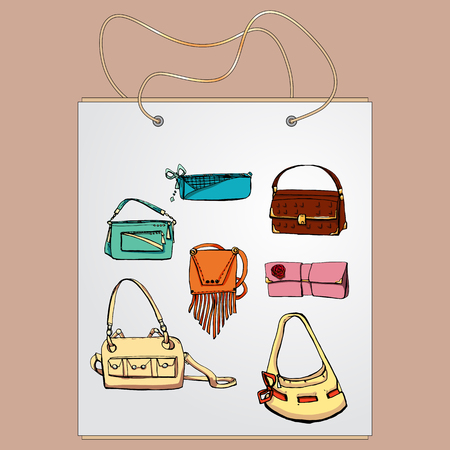ouch: Shopping bag, gift bag with the image of fashionable things.Fashion set. Various bags. illustration in hand drawing style. Illustration