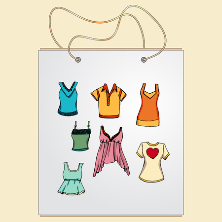 frill: Shopping bag, gift bag with the image of fashionable things.Fashion set. Various T-shirts. illustration in hand drawing style.