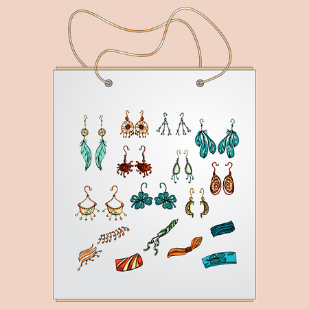 bracelets: Shopping bag, gift bag with the image of fashionable things.Fashion set. Fashion jewelry, earrings, bracelets. Illustration in hand drawing style.
