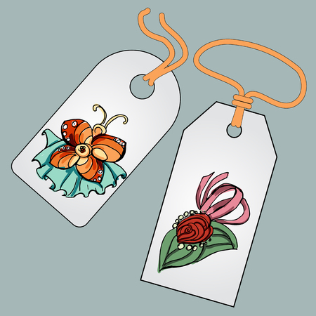 bobby pin: Label, badge, price tag with the image of fashionable things.Fashion set brooches.  Illustration in hand drawing style.