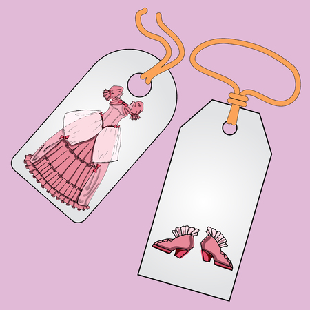 tally: Label, badge, price tag with the image of fashionable things.Fashion a set of fairy princess ball for the masquerade, Halloween, Christmas party.  Illustration in hand drawing style.