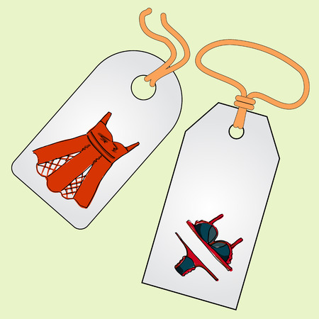 Label, badge, price tag with the image of fashionable things.Fashion underwear set.  Illustration in hand drawing style.