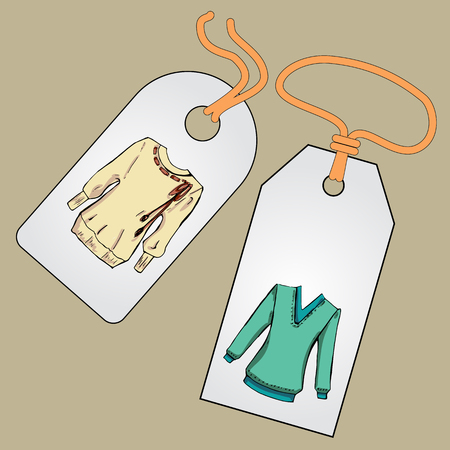 sewn: Label, badge, price tag with the image of fashionable things.Fashion set. Different sweaters, jackets. illustration in hand drawing style.