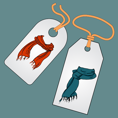tally: Label, badge, price tag with the image of fashionable things.Fashion set. Various scarves. Illustration in hand drawing style.