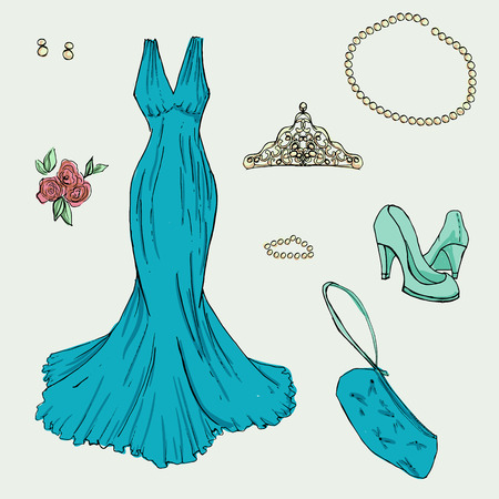 prom night: Fashionset for prom. Illustration in hand drawing style. Illustration