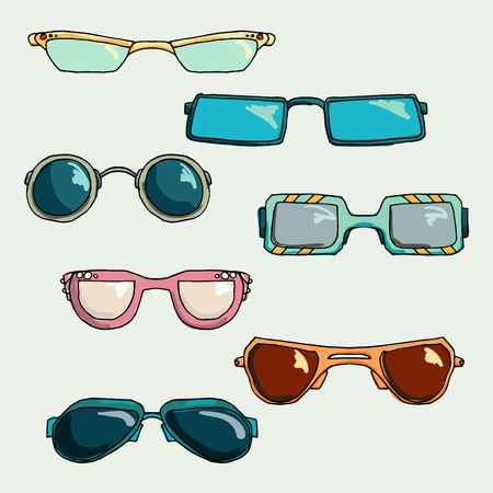 glases: Fashion set of glases and sunglasses. Illustration in hand drawing style. Illustration