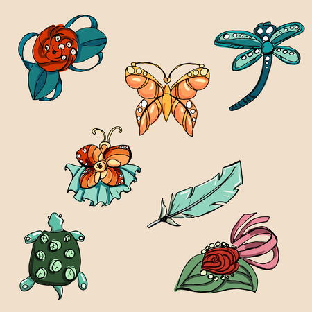 bobby pin: Fashion set brooches.  Illustration in hand drawing style.