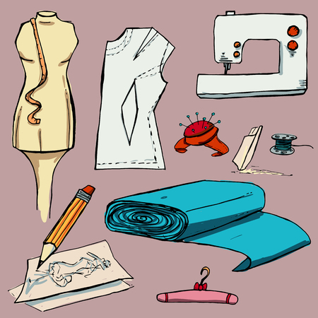 coat rack: Fashion set. Various tools for sewing. illustration in hand drawing style.