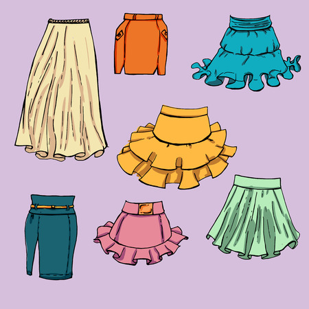frill: Fashion set. Various skirts. Illustration in hand drawing style.