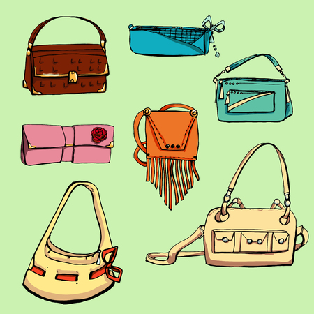 ouch: Fashion set. Various bags. illustration in hand drawing style.