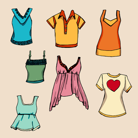 frill: Fashion set. Various T-shirts. illustration in hand drawing style.