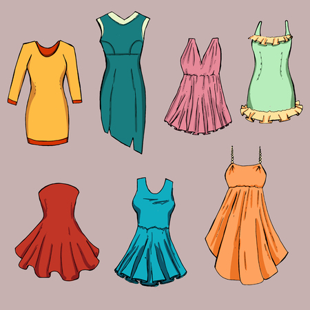 sewn: Fashion set. Different dresses. illustration in hand drawing style. Illustration
