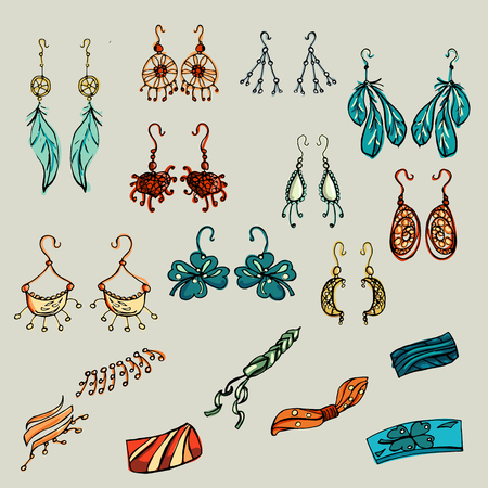 she: Fashion set. Fashion jewelry, earrings, bracelets. Illustration in hand drawing style