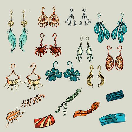 earrings: Fashion set. Fashion jewelry, earrings, bracelets. Illustration in hand drawing style