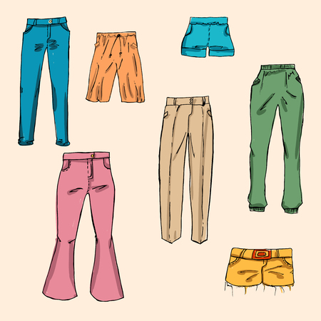 elastic band: Fashion set. different pants, trousers. Illustration in hand drawing style Illustration