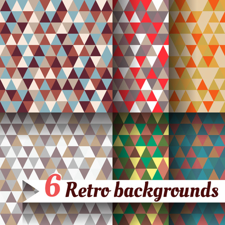 retro backgrounds with triangle. Set of six items Illustration