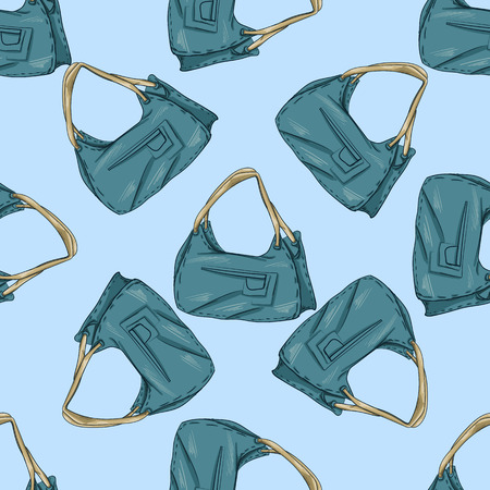 ouch: Seamless pattern. Fashion set. Various bags. illustration in hand drawing style.