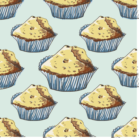 muffins: Seamless pattern with hand-drawn muffins. Cartoon style